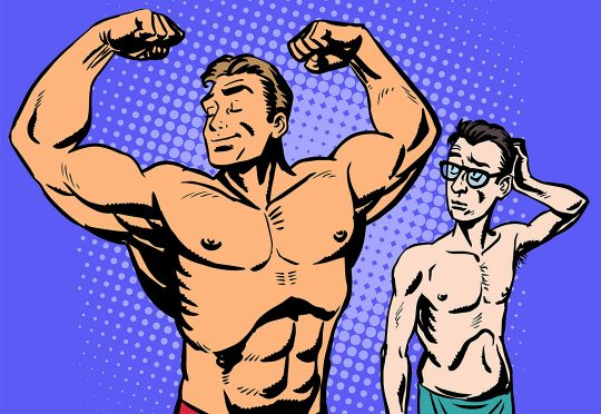 Un homme musclé à côté d'un homme maigre