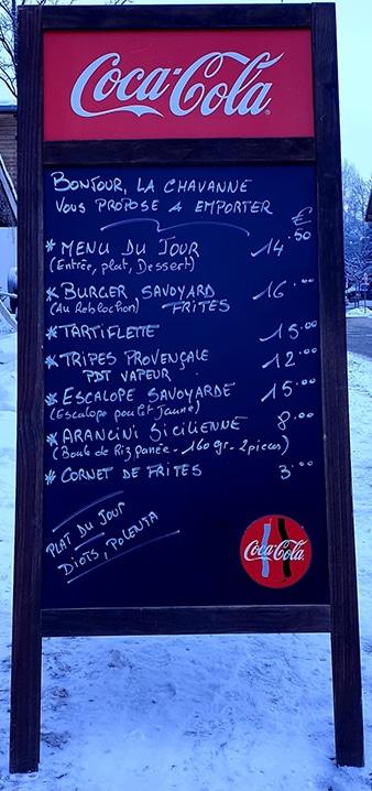 menu Chavanne Les Houches