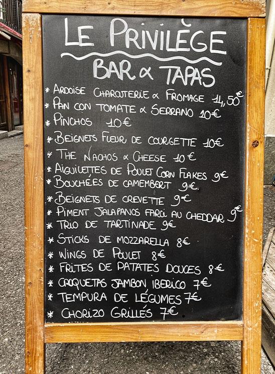 bar à tapas à Chamonix